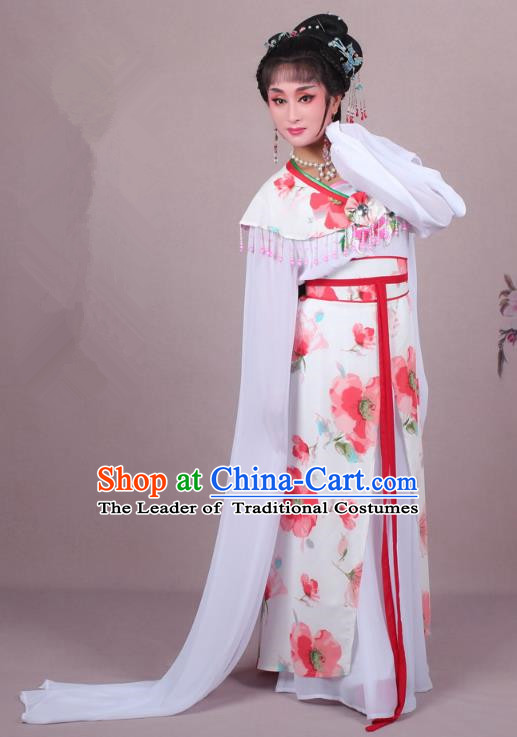 Top Grade Professional Beijing Opera Palace Lady Dance Costume Princess Red Cape, Traditional Ancient Chinese Peking Opera Diva Embroidery Clothing