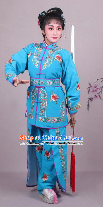 Traditional China Beijing Opera Swordplay Costume Embroidered Blue Clothing, Ancient Chinese Peking Opera Blues Female General Embroidery Dress Clothing