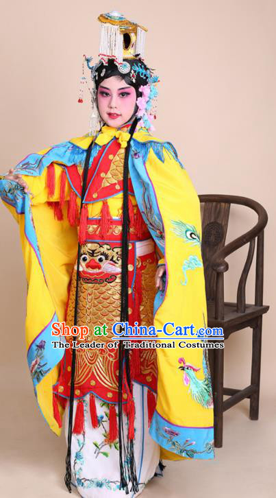 Traditional China Beijing Opera Swordplay Costume Female Warriors Yellow Embroidered Robe with Cloak, Ancient Chinese Peking Opera Blues Embroidery Clothing for Kids