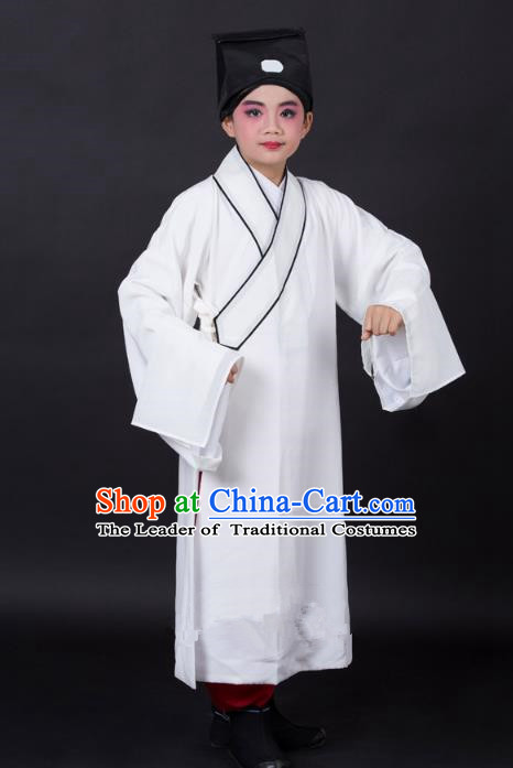 Traditional China Beijing Opera Niche Costume Scholar White Robe and Headwear, Ancient Chinese Peking Opera Young Men Clothing for Kids