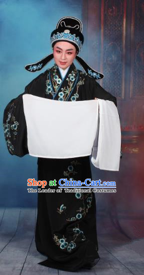 Top Grade Professional Beijing Opera Niche Costume Gifted Scholar Black Embroidered Robe, Traditional Ancient Chinese Peking Opera Embroidery Wintersweet Clothing