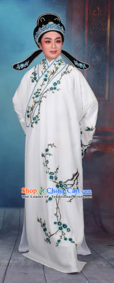 Top Grade Professional Beijing Opera Niche Costume Gifted Scholar White Embroidered Robe, Traditional Ancient Chinese Peking Opera Embroidery Wintersweet Clothing