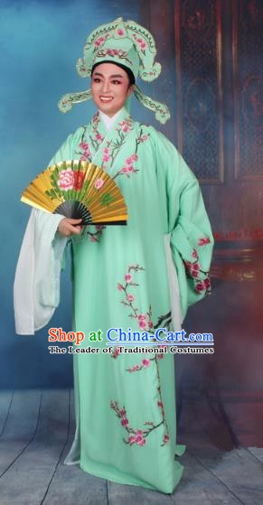 Top Grade Professional Beijing Opera Niche Costume Gifted Scholar Green Embroidered Robe, Traditional Ancient Chinese Peking Opera Embroidery Wintersweet Clothing