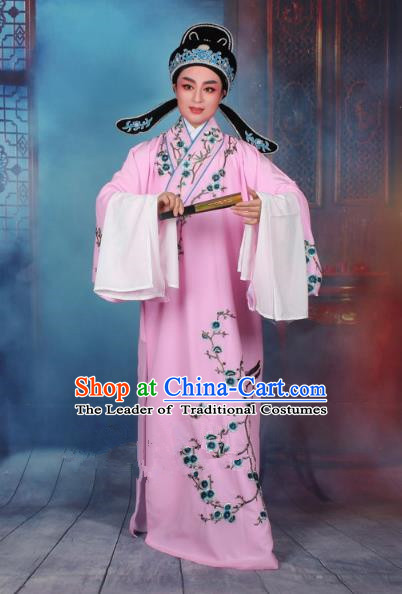 Top Grade Professional Beijing Opera Niche Costume Gifted Scholar Pink Embroidered Robe, Traditional Ancient Chinese Peking Opera Embroidery Wintersweet Clothing