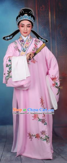 Top Grade Professional Beijing Opera Niche Costume Gifted Scholar Pink Embroidered Robe, Traditional Ancient Chinese Peking Opera Young Men Embroidery Chrysanthemum Clothing