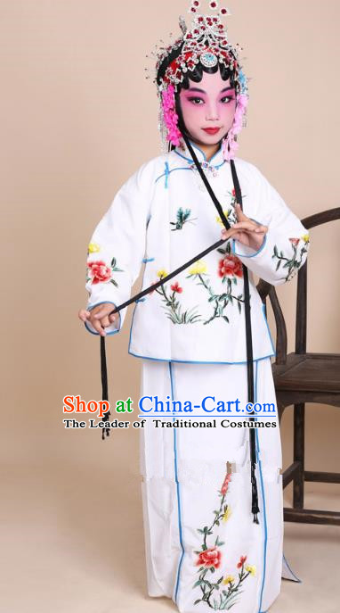 Top Grade Professional Beijing Opera Mui Tsai Costume White Embroidered Clothing, Traditional Ancient Chinese Peking Opera Maidservants Embroidery Clothing for Kids