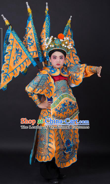 Traditional China Beijing Opera Takefu General Costume and Headwear Complete Set, Ancient Chinese Peking Opera Wu-Sheng Military Officer Embroidery Yellow Clothing for Kids