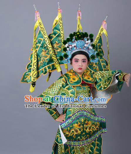 Traditional China Beijing Opera Takefu General Costume and Headwear Complete Set, Ancient Chinese Peking Opera Wu-Sheng Military Officer Embroidery Green Clothing for Kids