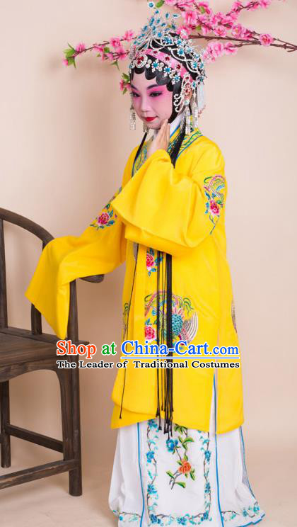 Top Grade Professional China Beijing Opera Costume Yellow Embroidered Dress and Headwear, Ancient Chinese Peking Opera Diva Hua Tan Embroidery Phoenix Clothing for Kids