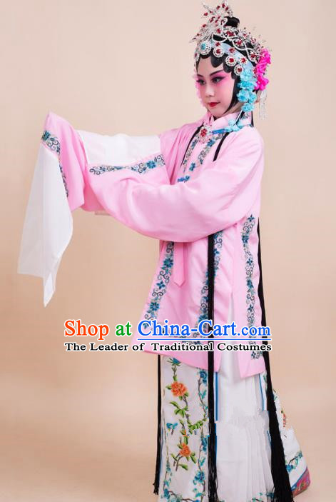 Top Grade Professional China Beijing Opera Costume Pink Embroidered Dress, Ancient Chinese Peking Opera Diva Hua Tan Embroidery Phoenix Clothing for Kids