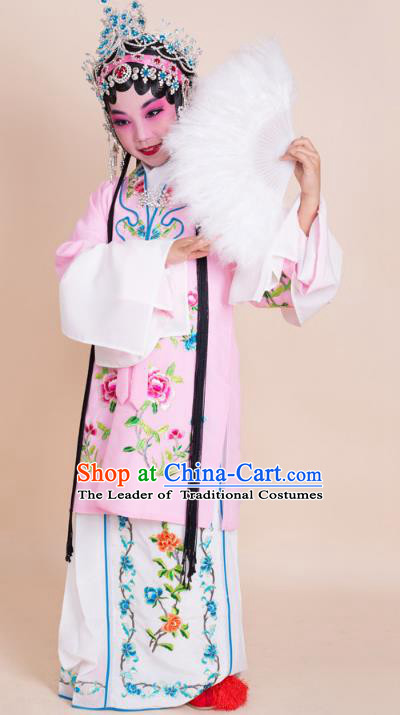 Top Grade Professional China Beijing Opera Costume Pink Embroidered Cape, Ancient Chinese Peking Opera Diva Hua Tan Embroidery Dress Clothing for Kids