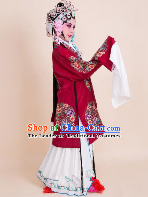 Top Grade Professional China Beijing Opera Costume Amaranth Embroidered Cape, Ancient Chinese Peking Opera Diva Hua Tan Embroidery Peony Dress Clothing for Kids