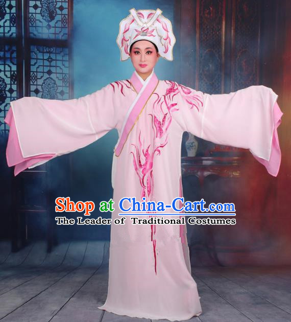 Top Grade Professional Beijing Opera Scholar Costume Niche Embroidered Light Pink Robe and Headwear, Traditional Ancient Chinese Peking Opera Butterfly Lovers Embroidery Clothing