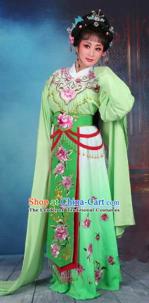 Top Grade Professional Beijing Opera Diva Costume Hua Tan Green Embroidered Dress, Traditional Ancient Chinese Peking Opera Princess Embroidery Peony Clothing