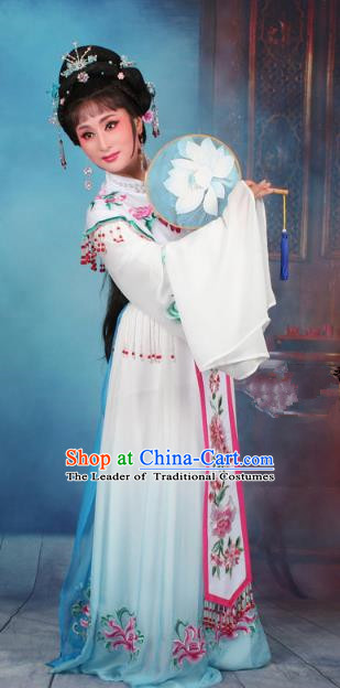 Top Grade Professional Beijing Opera Diva Costume Palace Lady Blue Embroidered Dress, Traditional Ancient Chinese Peking Opera Princess Embroidery Peony Clothing
