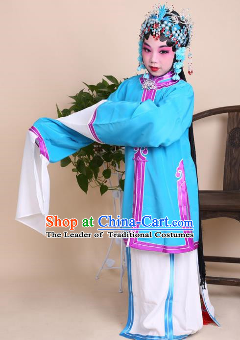 Top Grade Professional China Beijing Opera Costume Blue Dress, Ancient Chinese Peking Opera Diva Hua Tan Embroidery Clothing for Kids