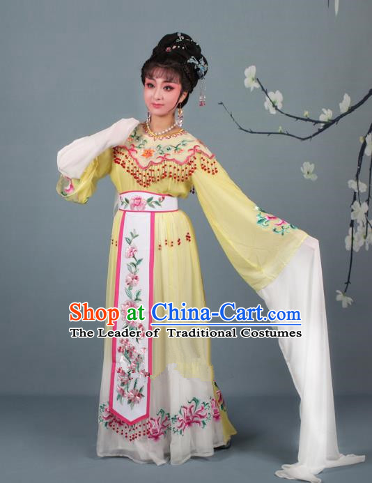 Top Grade Professional Beijing Opera Diva Costume Palace Lady Yellow Embroidered Dress, Traditional Ancient Chinese Peking Opera Princess Embroidery Peony Clothing