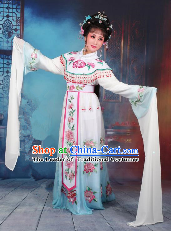 Top Grade Professional Beijing Opera Diva Costume Palace Lady Water Sleeve Blue Embroidered Dress, Traditional Ancient Chinese Peking Opera Princess Embroidery Peony Clothing