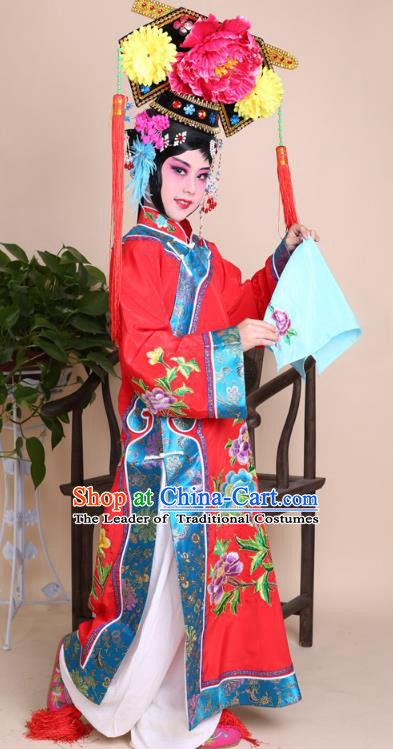 Top Grade Professional China Beijing Opera Costume Manchu Embroidered Dress and Headwear, Ancient Chinese Peking Opera Qing Dynasty Diva Hua Tan Embroidery Clothing for Kids