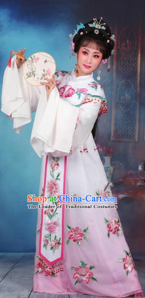 Top Grade Professional Beijing Opera Diva Costume Palace Lady Water Sleeve Pink Embroidered Dress, Traditional Ancient Chinese Peking Opera Princess Embroidery Peony Clothing