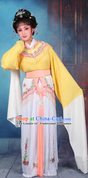 Top Grade Professional Beijing Opera Diva Costume Nobility Lady Yellow Embroidered Clothing, Traditional Ancient Chinese Peking Opera Hua Tan Princess Embroidery Dress