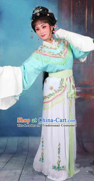 Top Grade Professional Beijing Opera Diva Costume Nobility Lady Green Embroidered Clothing, Traditional Ancient Chinese Peking Opera Hua Tan Princess Embroidery Dress
