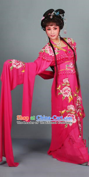 Top Grade Professional Beijing Opera Diva Ancient Costume Rosy Embroidered Clothing, Traditional Chinese Peking Opera Hua Tan Princess Embroidery Dress