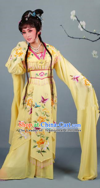 Top Grade Professional Beijing Opera Diva Ancient Costume Yellow Embroidered Clothing, Traditional Chinese Peking Opera Hua Tan Princess Embroidery Dress
