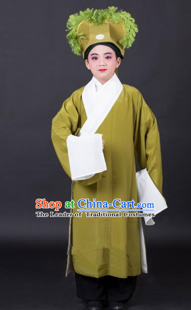 Top Grade Professional Beijing Opera Niche Costume Scholar Green Robe and Headwear, Traditional Ancient Chinese Peking Opera Embroidery Clothing for Kids