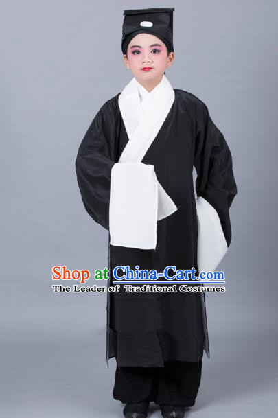 Top Grade Professional Beijing Opera Niche Costume Scholar Black Robe and Headwear, Traditional Ancient Chinese Peking Opera Embroidery Clothing for Kids