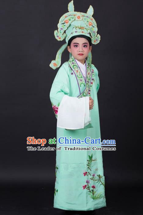 Top Grade Professional Beijing Opera Niche Costume Gifted Scholar Green Embroidered Robe and Headwear, Traditional Ancient Chinese Peking Opera Embroidery Clothing for Kids