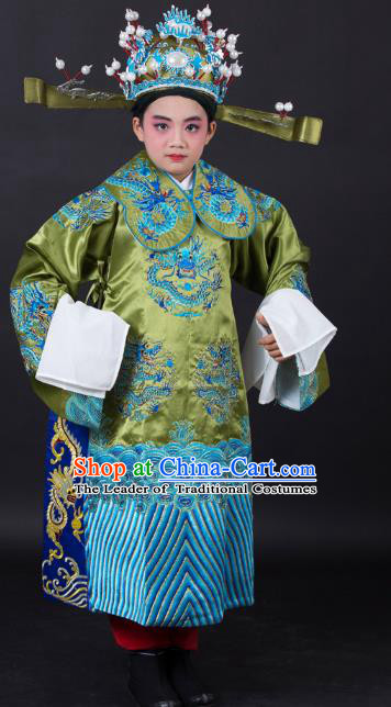 Traditional China Beijing Opera Costume Emperor Embroidered Green Robe and Headwear, Ancient Chinese Peking Opera Embroidery Dragon Gwanbok Clothing for Kids