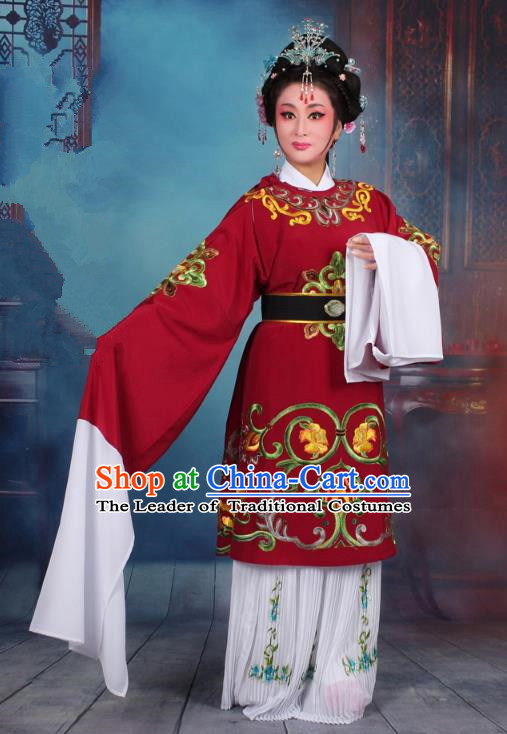 Traditional China Beijing Opera Old Women Costume Matchmaker Embroidered Red Clothing, Ancient Chinese Peking Opera Pantaloon Dress Clothing