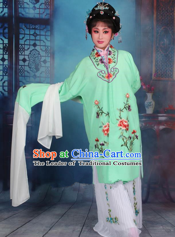 Top Grade Professional Beijing Opera Palace Lady Costume Hua Tan Green Embroidered Cape Dress, Traditional Ancient Chinese Peking Opera Diva Embroidery Clothing