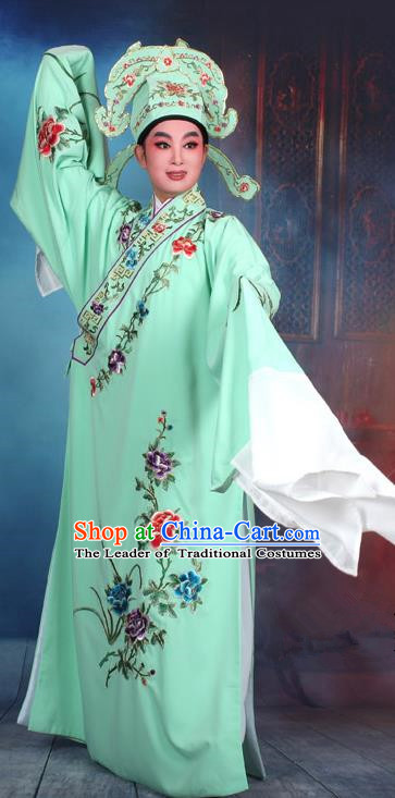 Top Grade Professional Beijing Opera Niche Costume Gifted Scholar Green Embroidered Robe, Traditional Ancient Chinese Peking Opera Embroidery Clothing