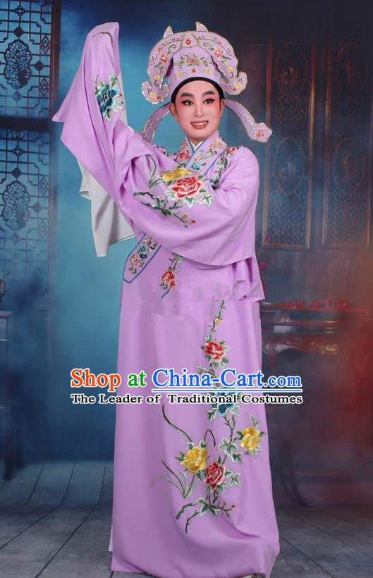 Top Grade Professional Beijing Opera Niche Costume Gifted Scholar Purple Embroidered Robe, Traditional Ancient Chinese Peking Opera Embroidery Clothing