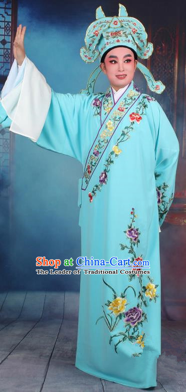 Top Grade Professional Beijing Opera Niche Costume Gifted Scholar Light Blue Embroidered Robe, Traditional Ancient Chinese Peking Opera Embroidery Clothing