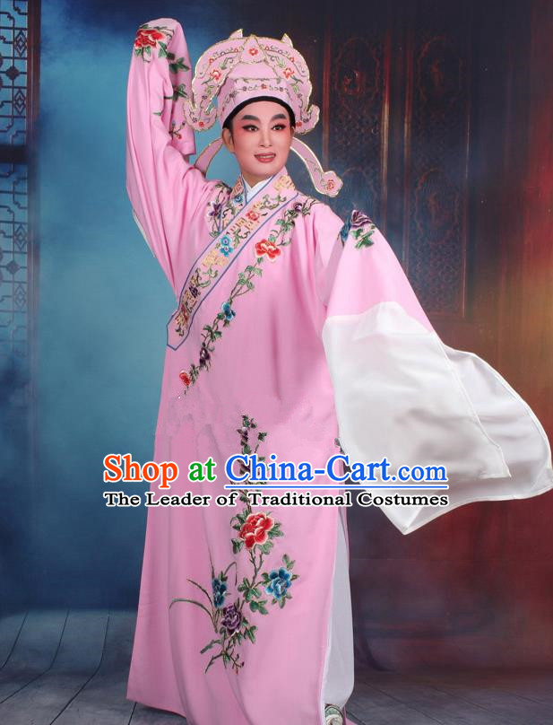 Top Grade Professional Beijing Opera Niche Costume Gifted Scholar Pink Embroidered Robe, Traditional Ancient Chinese Peking Opera Embroidery Clothing