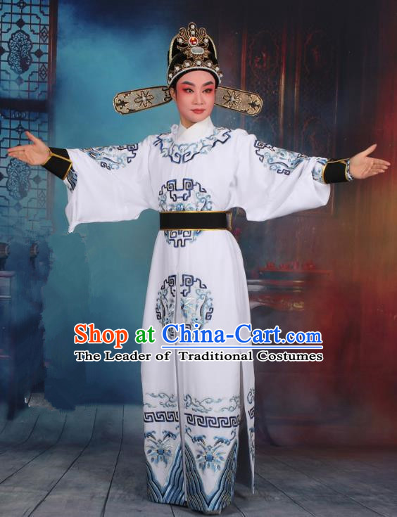 Top Grade Professional Beijing Opera Niche Costume General White Embroidered Robe and Headwear, Traditional Ancient Chinese Peking Opera Takefu Clothing
