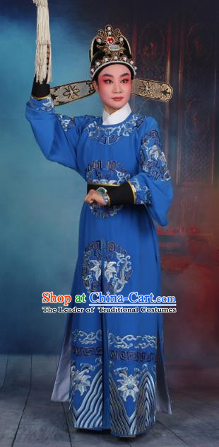 Top Grade Professional Beijing Opera Niche Costume General Blue Embroidered Robe and Headwear, Traditional Ancient Chinese Peking Opera Takefu Clothing
