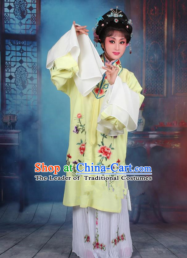 Top Grade Professional Beijing Opera Palace Lady Costume Hua Tan Yellow Embroidered Cape Dress, Traditional Ancient Chinese Peking Opera Diva Embroidery Clothing