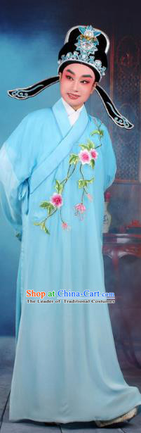 Top Grade Professional Beijing Opera Gifted Scholar Costume Niche Embroidered Blue Robe and Headwear, Traditional Ancient Chinese Peking Opera Embroidery Clothing