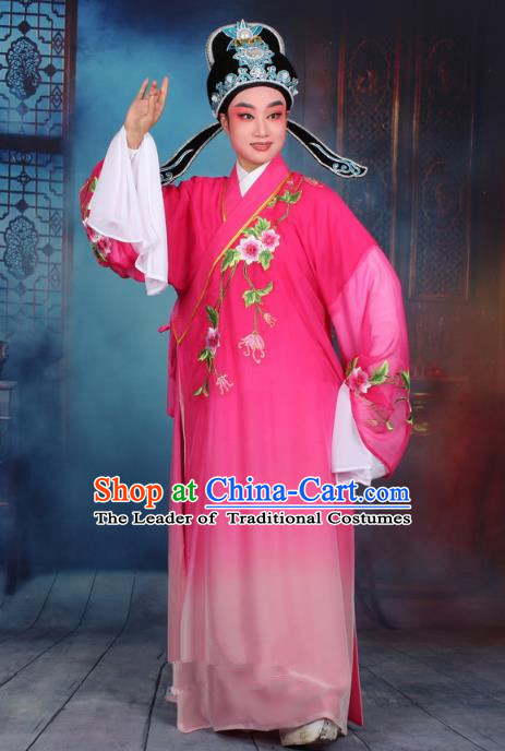 Top Grade Professional Beijing Opera Gifted Scholar Costume Niche Embroidered Rosy Robe and Headwear, Traditional Ancient Chinese Peking Opera Embroidery Clothing