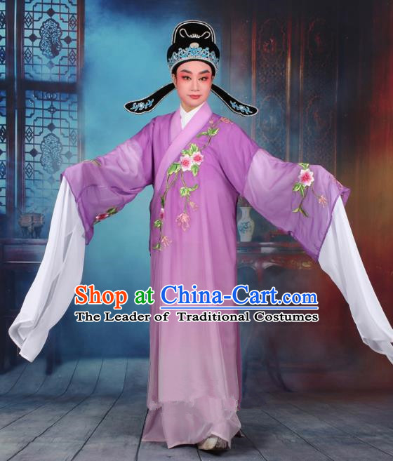 Top Grade Professional Beijing Opera Gifted Scholar Costume Niche Embroidered Purple Robe and Headwear, Traditional Ancient Chinese Peking Opera Embroidery Clothing