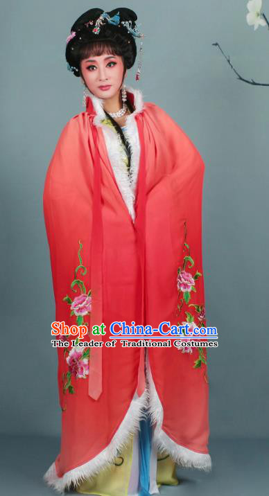 Top Grade Professional Beijing Opera Diva Costume Rosy Embroidered Cloak, Traditional Ancient Chinese Peking Opera Hua Tan Princess Embroidery Mantle