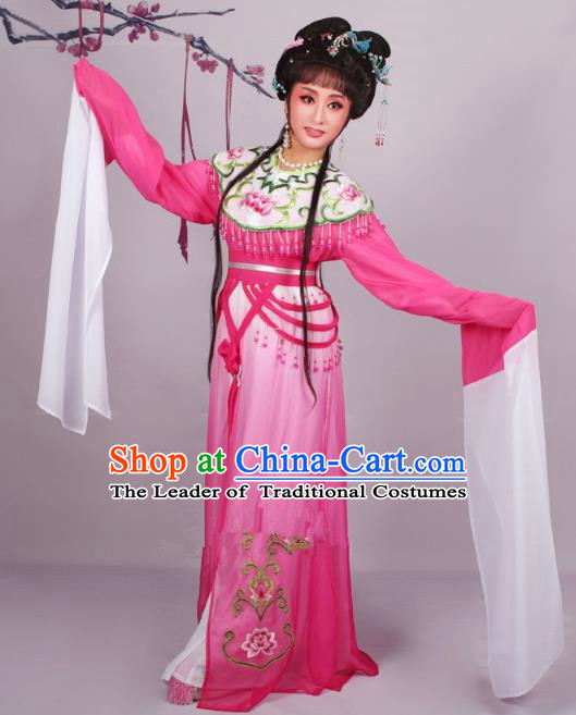 Top Grade Professional Beijing Opera Diva Costume Rosy Embroidered Dress, Traditional Ancient Chinese Peking Opera Hua Tan Princess Embroidery Clothing