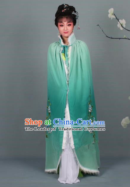 Top Grade Professional Beijing Opera Diva Costume Green Embroidered Cloak, Traditional Ancient Chinese Peking Opera Hua Tan Princess Embroidery Mantle