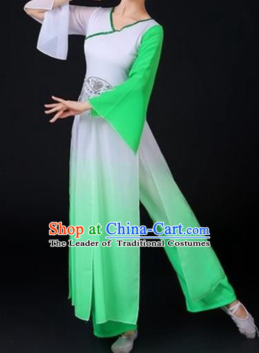 Traditional Chinese Classical Dance Fan Dance Costume, Folk Dance Umbrella Dance Green Uniform Clothing for Women