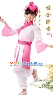 Traditional Chinese Classical Ti Tzu Kui Children Costume, China Ancient Hanfu Clothing Pink Uniform for Kids