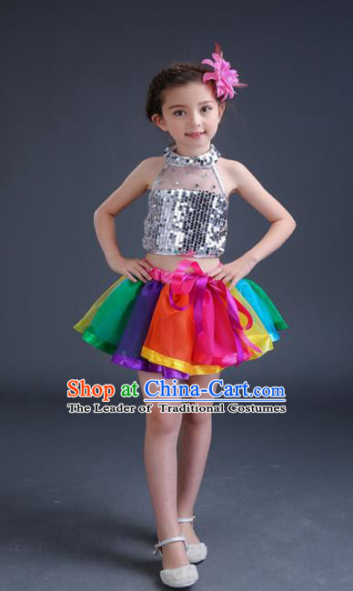 Top Grade Chinese Compere Professional Performance Catwalks Costume, Children Jazz Dance Paillette Dress Modern Dance Clothing for Girls Kids